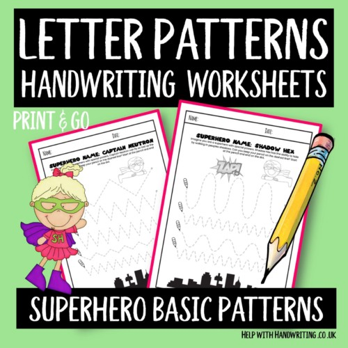 handwriting worksheet cover image superhero handwriting patterns