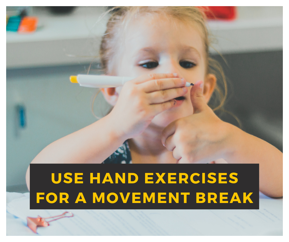 image for blog movement break hand exercises