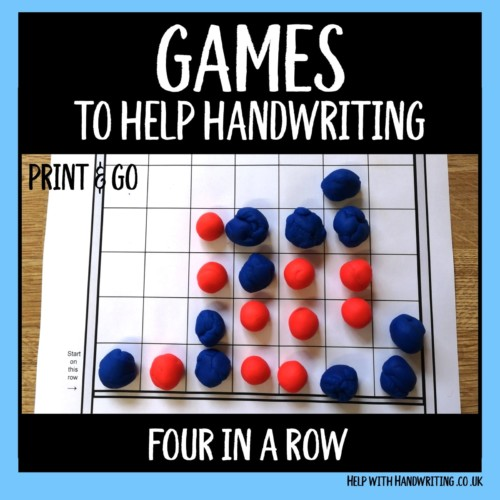 handwriting games worksheet cover image four in a row