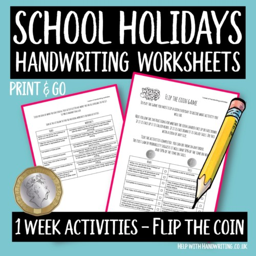 handwriting worksheet cover flip the coin