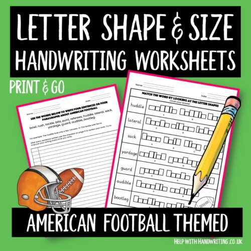 handwriting worksheet cover American football themed