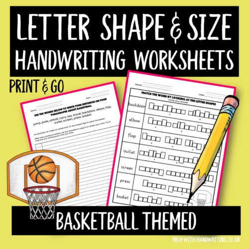 handwriting worksheet cover basketball themed