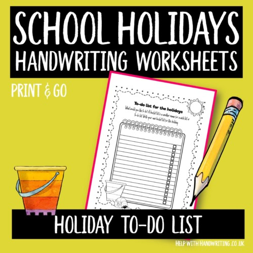 handwriting worksheet cover for holiday to-do list