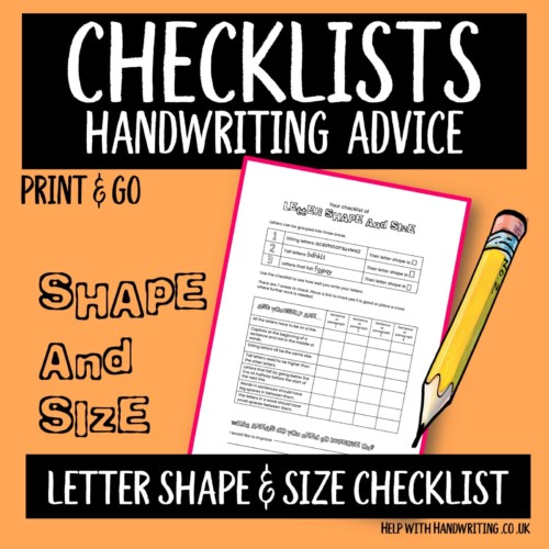 Handwriting worksheet cover for letter shape & size checklist