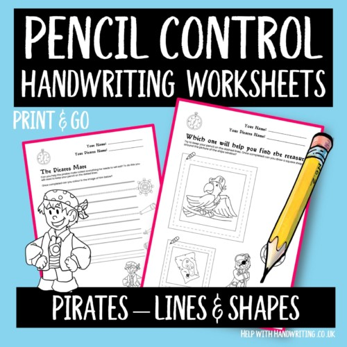 handwriting worksheet cover pirates lines and shapes