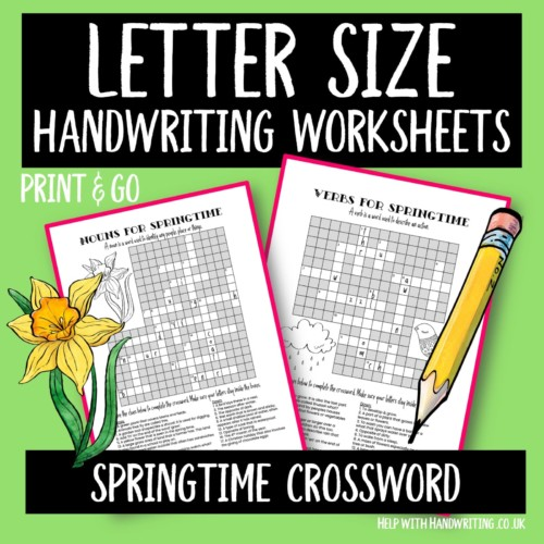 handwriting worksheet cover springtime crossword