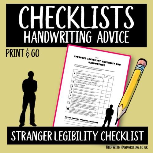 handwriting worksheet cover for stranger legibility checklist