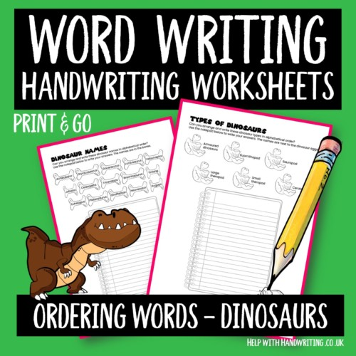 handwriting worksheet cover ordering words dinosaur