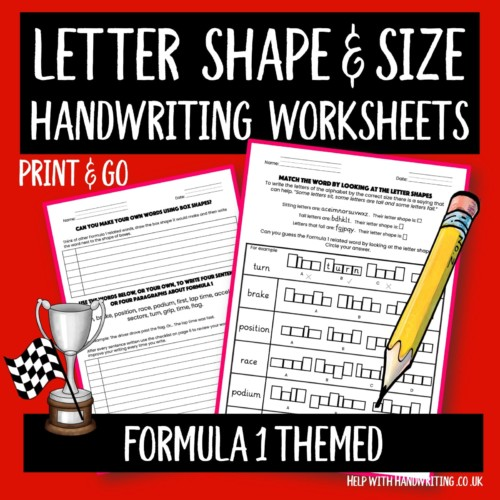 Cover image of handwriting worksheets on Formula 1