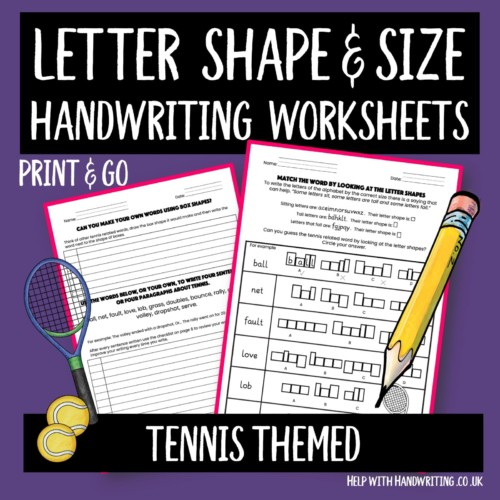 Cover image of tennis inspired handwriting worksheets