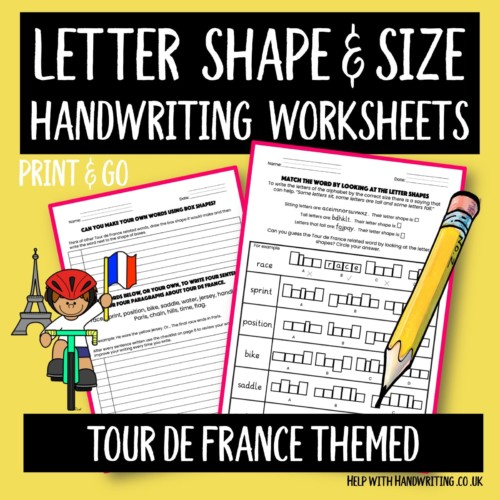 Cover image of handwriting worksheets themed on Tour de France