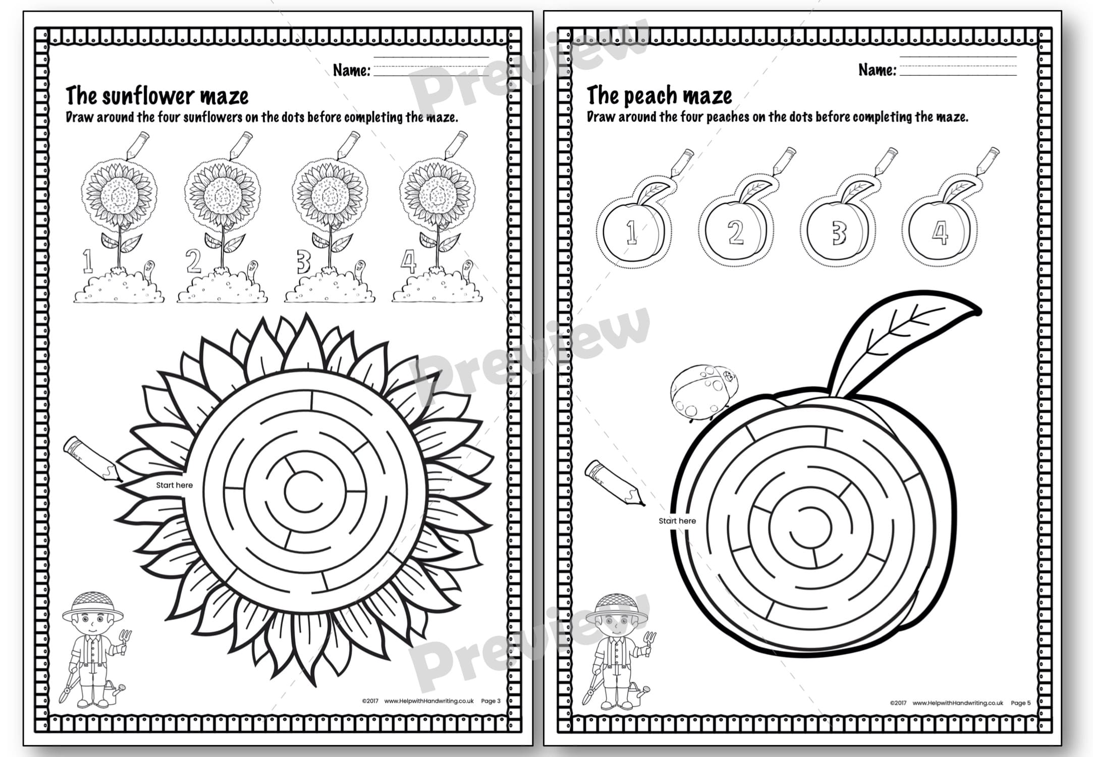 Preview image worksheet Gardeners maze level 1