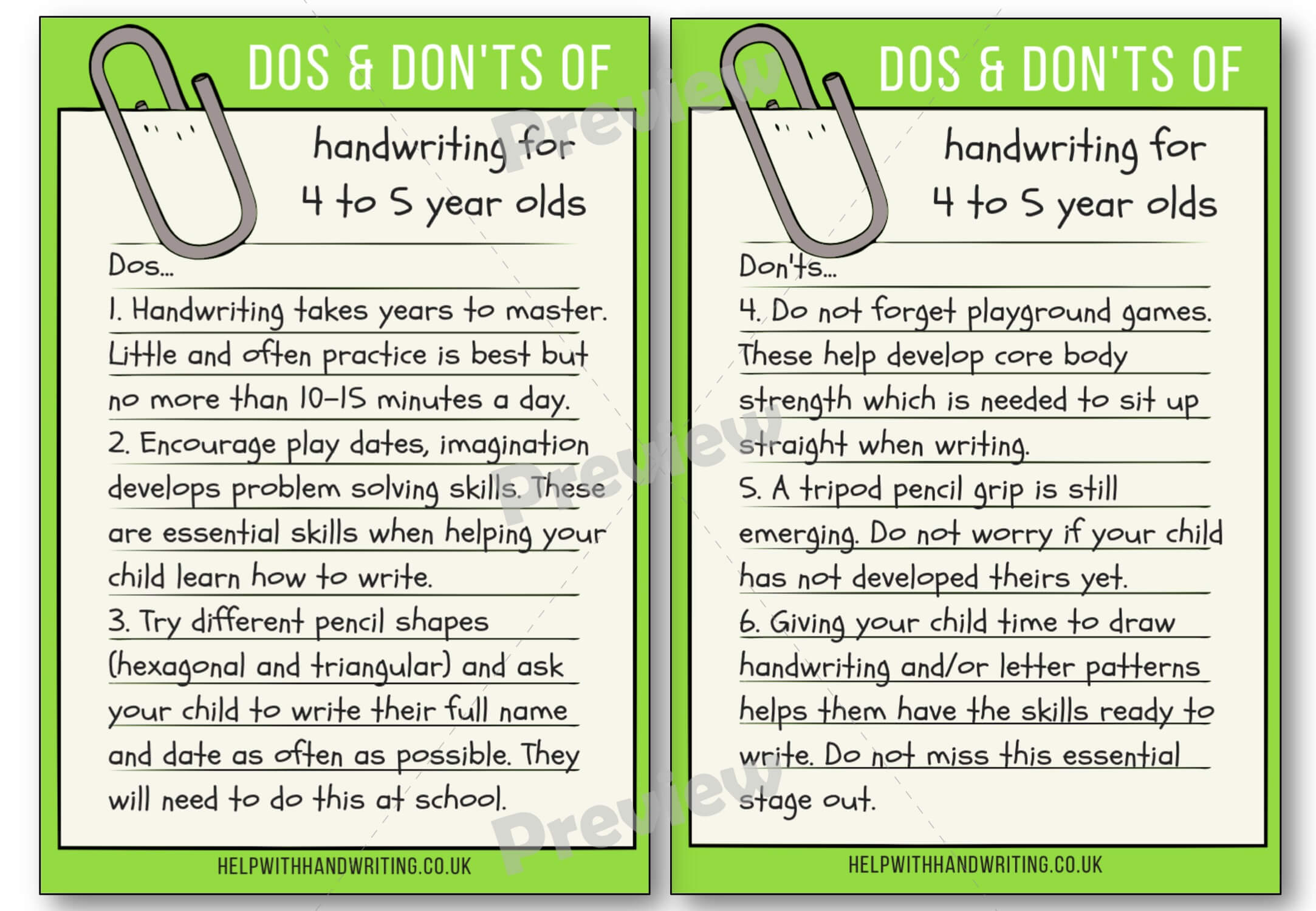 Handwriting dos and don'ts for 4 to 5 years Preview image worksheet