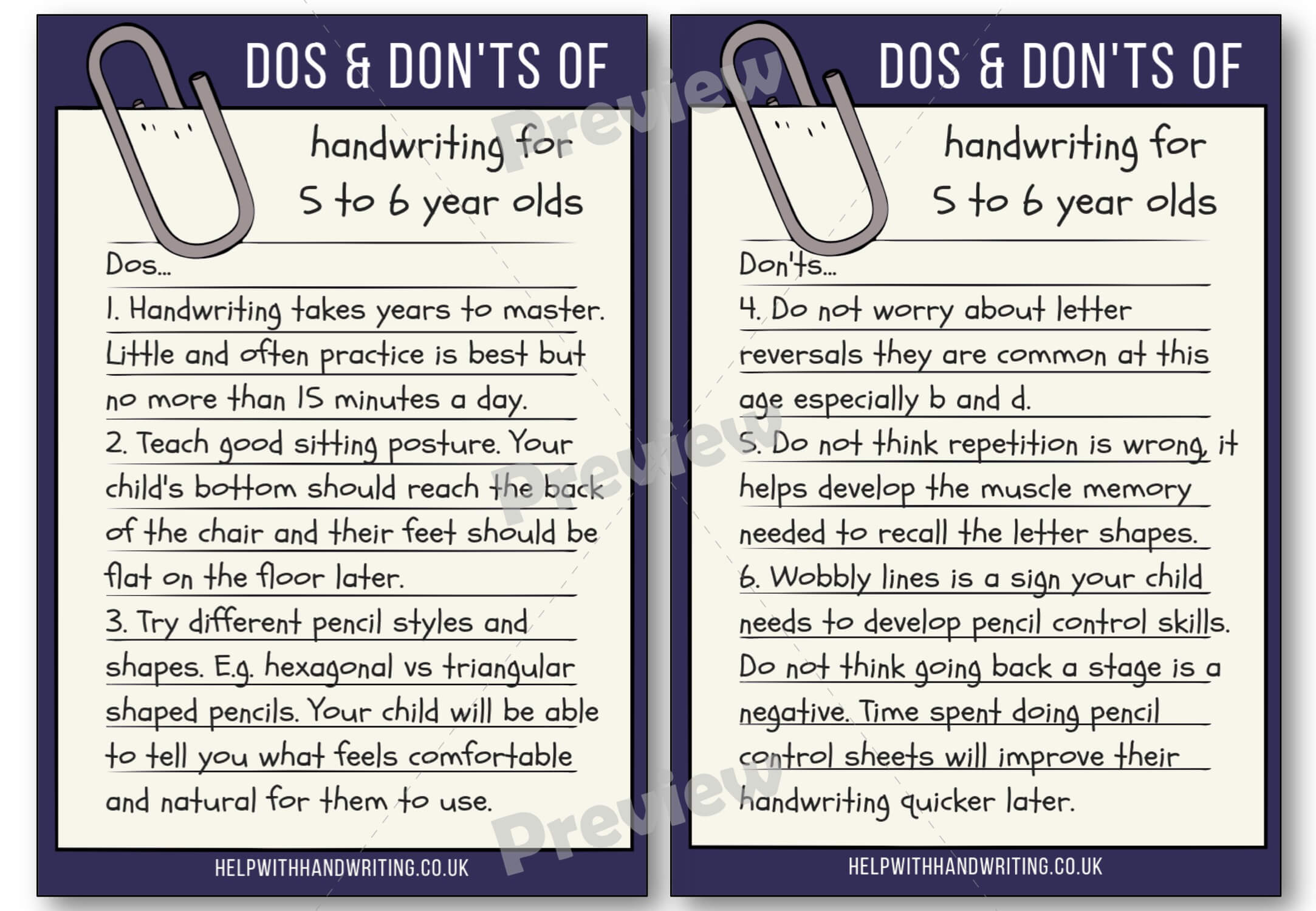 Handwriting dos and don'ts for 5 to 6 years Preview image worksheet