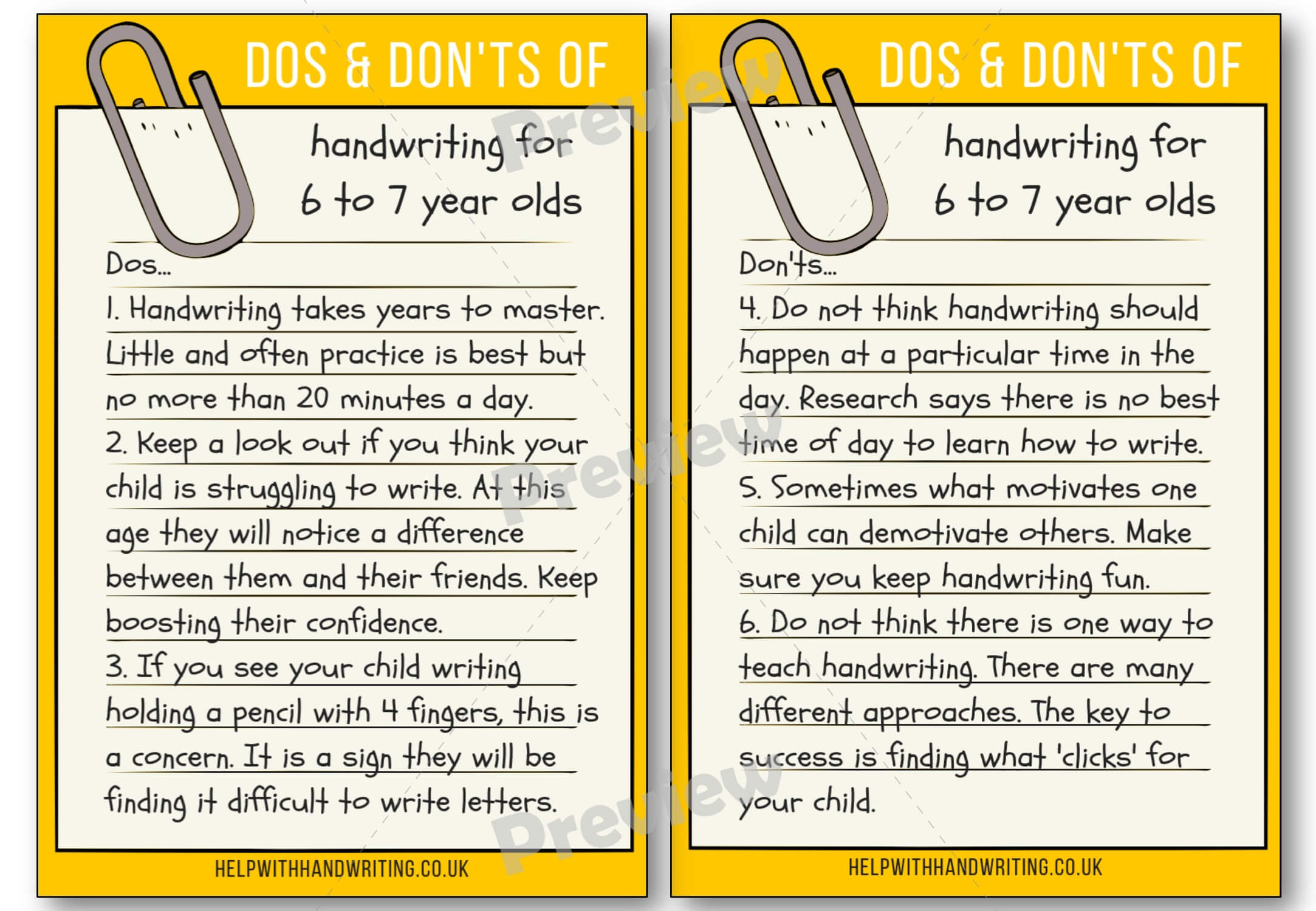 Handwriting dos and don'ts for 6 to 7 years Preview image worksheet