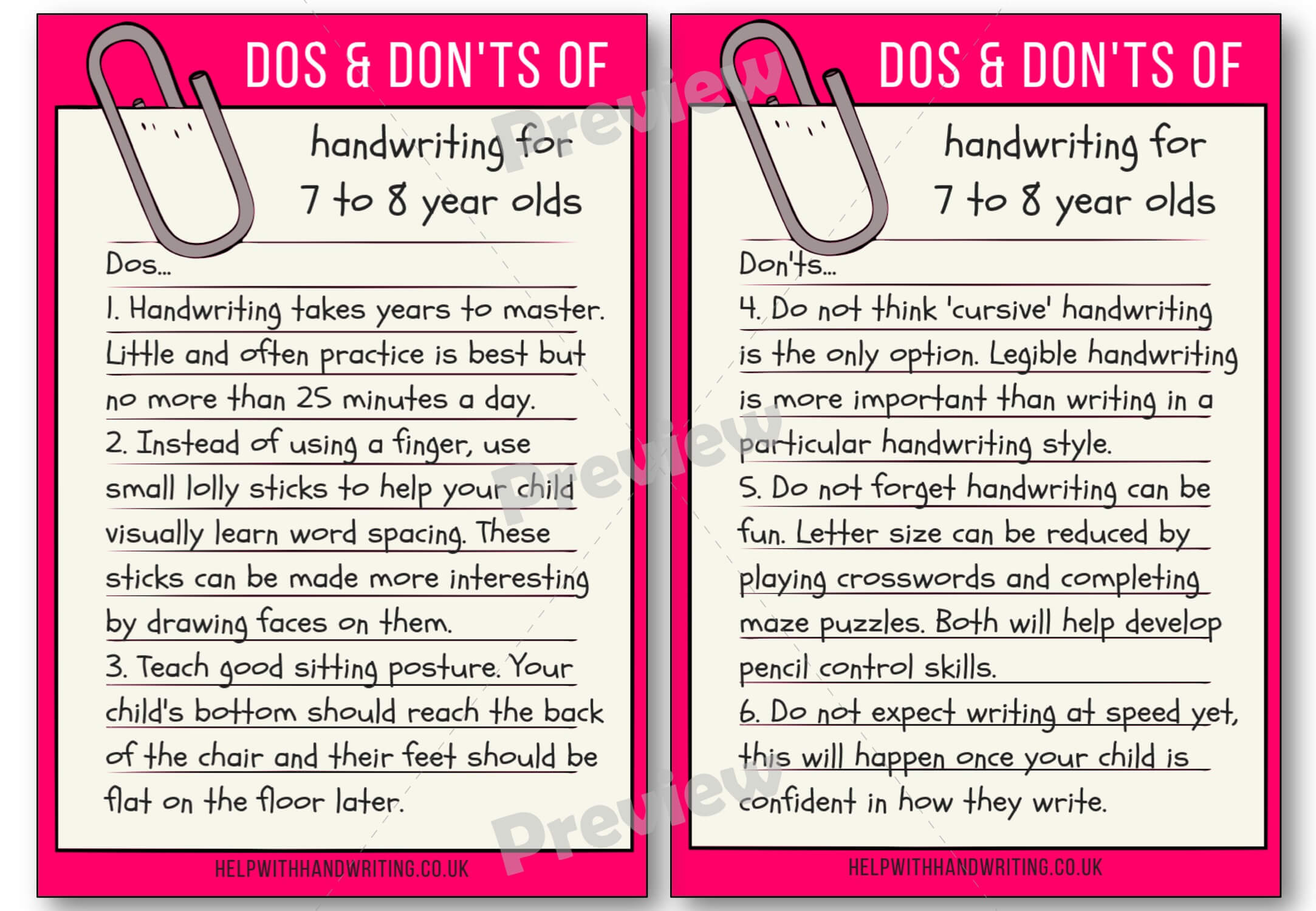 Handwriting dos and don'ts for 7 to 8 years Preview image worksheet