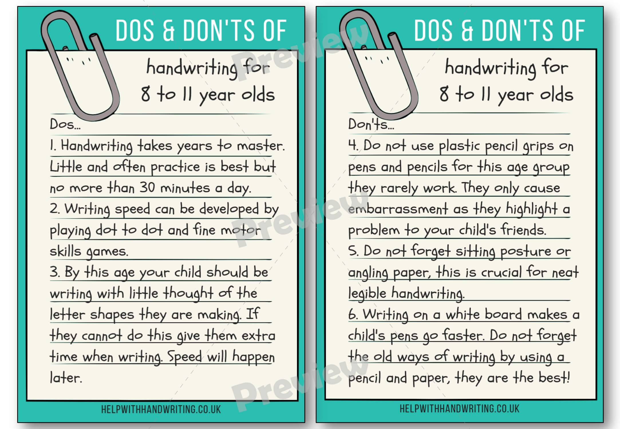 Handwriting dos and don'ts for 8 to 11 years Preview image worksheet
